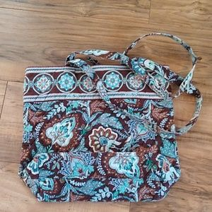 Vera Bradley blue and brown quilted tote